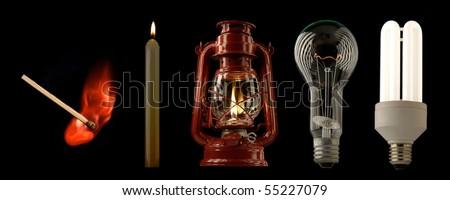 Evolution of lighting light sources - stock photo