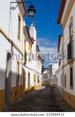 Evora is a city and in Portugal. The street - stock photo