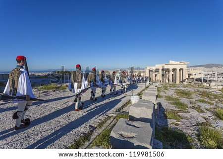 Evzones (presidential guards) at the Athenian Acropolis, Greece - stock photo