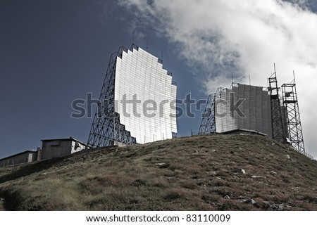 Ex Nato military post at the top of an hill, used during the cold war for communication