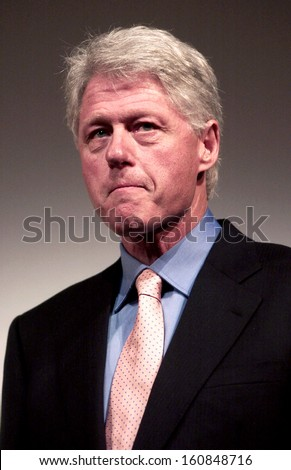Ex-President Bill Clinton speaks at the premiere of THE HUNTING OF THE PRESIDENT at the Skirball Center of Performing Arts on June 16, 2004 in New York City