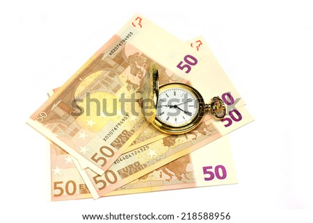exact watch and bill euro as symbol financial trade