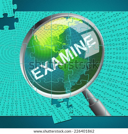 Examine Magnifier Meaning Check Up And Examining - stock photo