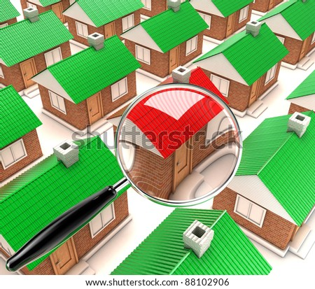 Examining of one house under the big magnifier - stock photo