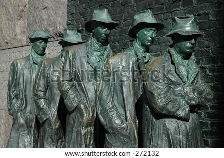 Example of a Depression line from depression era United States (Roosevelt Memorial, Washington, DC) - stock photo