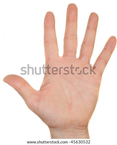 Example of how to sign the number 5 in American Sign Language