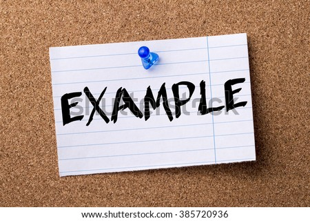 EXAMPLE - teared note paper pinned on bulletin board - horizontal image - stock photo