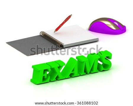Exams EDUCATION bright volume letter and copybook with red pen and computer mouse on white background - stock photo