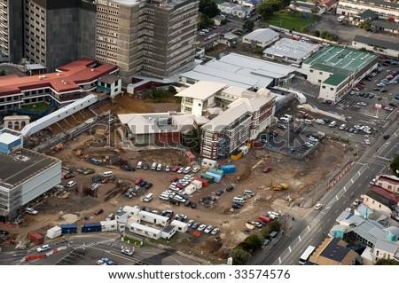 Excavation at start of rebuilding of hospital - stock photo