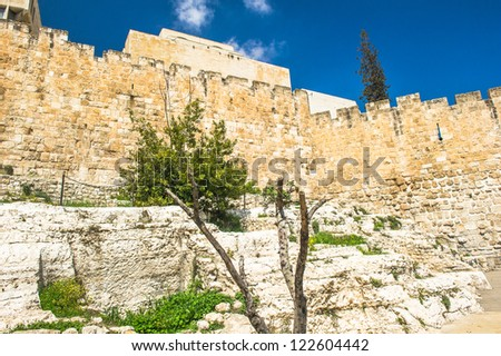 "Excavations on the south side of the temple mount revealed important Herodian findings, including ""Robinson"" arch, a paved street, Hulda gates and monumental staircase to the temple. - stock photo"