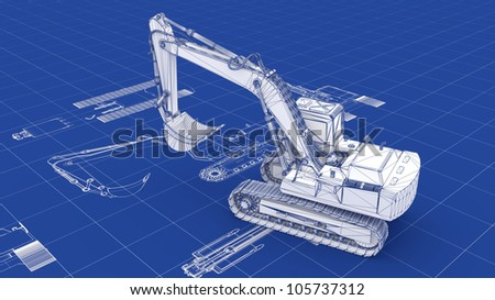 Excavator Blueprint. Part of a series. - stock photo