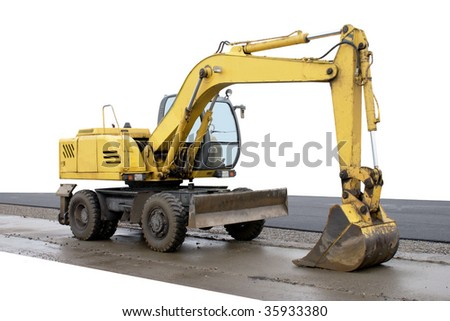 Excavator. Construction machinery. Isolated object on a white background