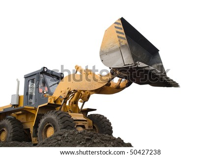 Excavator for digging. Isolated on white background. - stock photo