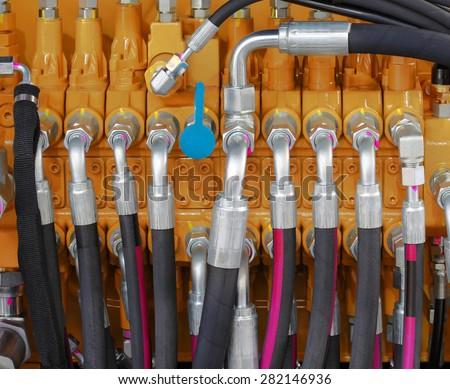 Excavator Hydraulic Pressure Hoses System - stock photo