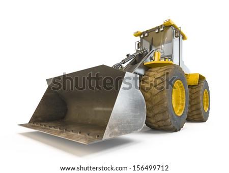 Excavator isolated on white background - stock photo