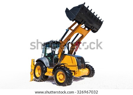 Excavator isolated on white background with clipping path - stock photo
