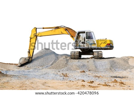 Excavator parked on the mound on white background. - stock photo