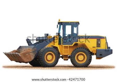 Excavator wheel Loader working on building area - stock photo
