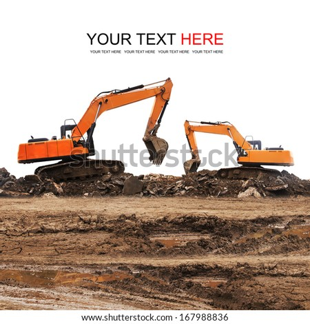 Excavator working at construction site  - stock photo