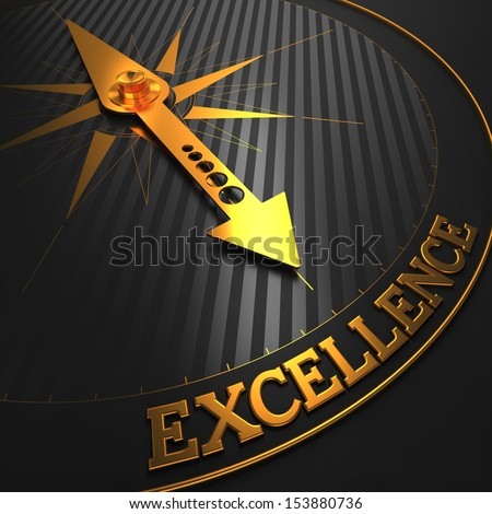 """Excellence - Business Background. Golden Compass Needle on a Black Field Pointing to the Word """"Excellence"""". 3D Render. - stock photo"""