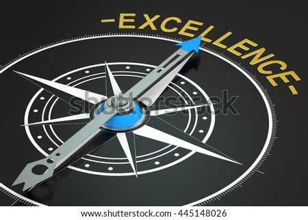 excellence compass concept, 3D rendering - stock photo
