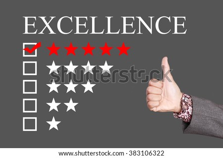 Excellence - Five Stars Rating with thumb up. Grey Background