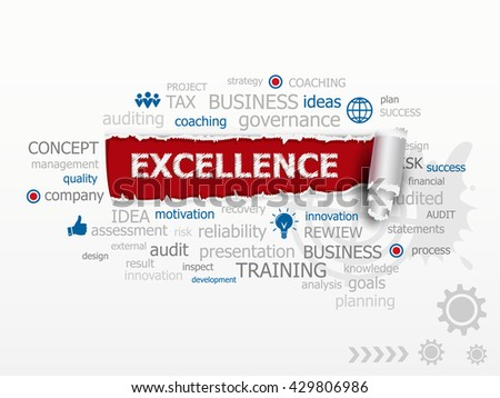Excellence word cloud. Design illustration concepts for business, consulting, raster version - stock photo