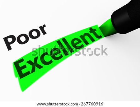Excellent customer service business survey rating concept with a 3d rendering of poor text and excellent word highlighted with a green marker. - stock photo