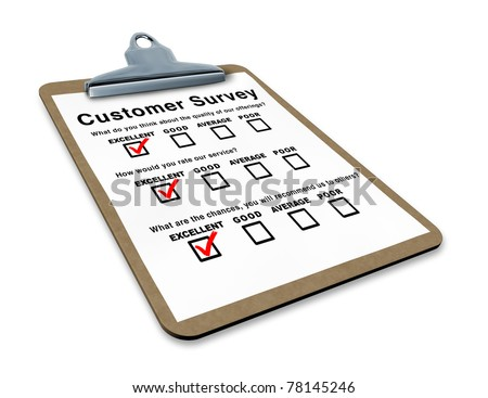 Excellent customer survey on a clipboard representing the best service questionnaire with blank feedback form for quality control - stock photo