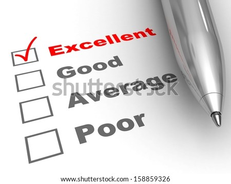 Excellent evaluation. Pen on evaluation form, with Excellent checked. - stock photo