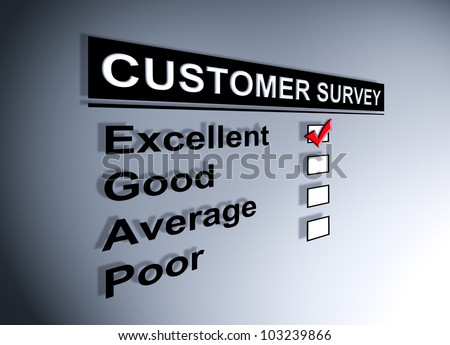 Excellent experience checkbox ticked in customer service survey form - stock photo