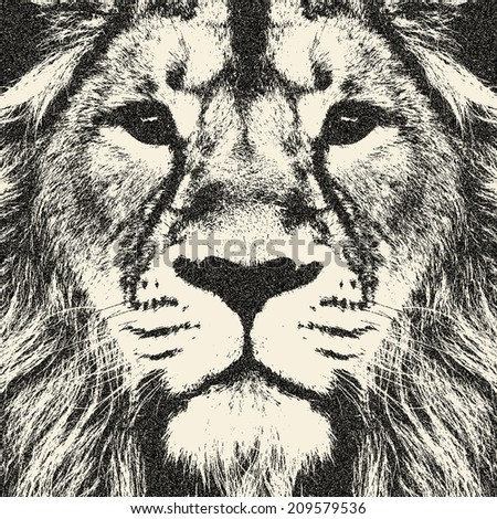 Excellent face of a lion. The King of beasts, biggest and most dangerous cat of the world. Amazing monochrome illustration in retro style. Great for user pic, icon, label, tattoo. Horoscope symbol. - stock photo