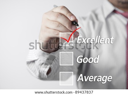Excellent in a survey form. The check mark is in red. - stock photo