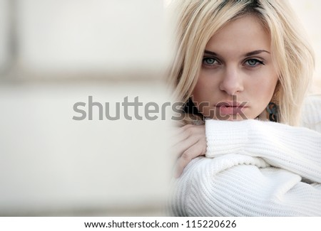 excellent professional fashion hairstyle. women. portait. make up - stock photo