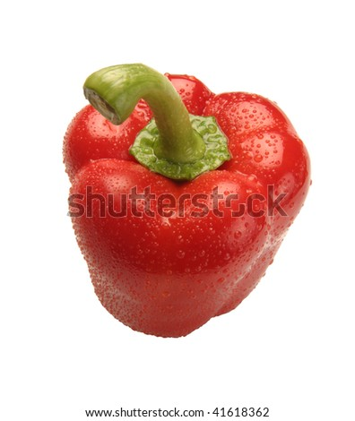 excellent red pepper with a green pod on a white background - stock photo