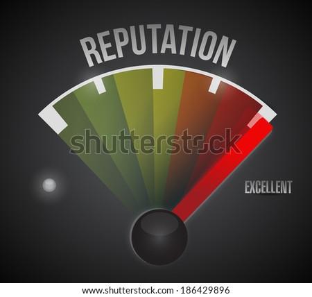 excellent reputation speedometer illustration design over a black background - stock photo