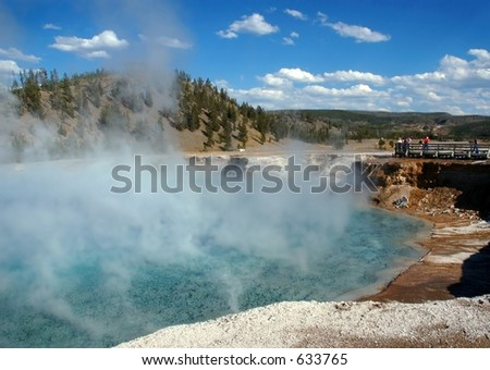 Excelsior Geyser and Tourists - stock photo