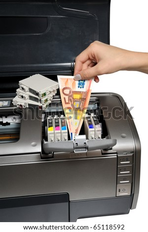 excessive expenditure of ink cartridges - stock photo