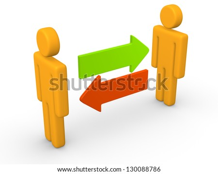 Exchange between two 3d men. 3d rendering. - stock photo