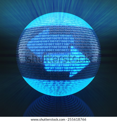 Exchange icon on globe formed by binary code, 3d render - stock photo