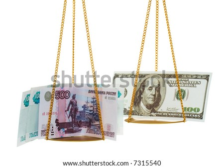 Exchange 2500 Russian rubles on 100 US dollars. Isolated - stock photo
