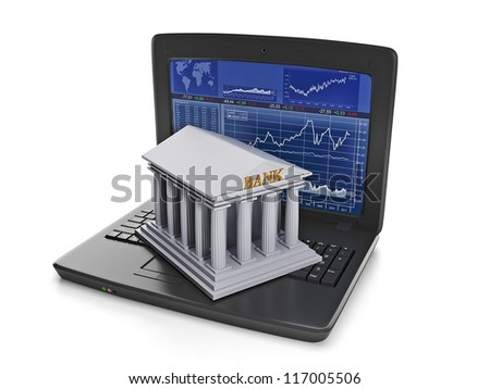 Exchange trades. The laptop with the results of stock trading and bank building - stock photo