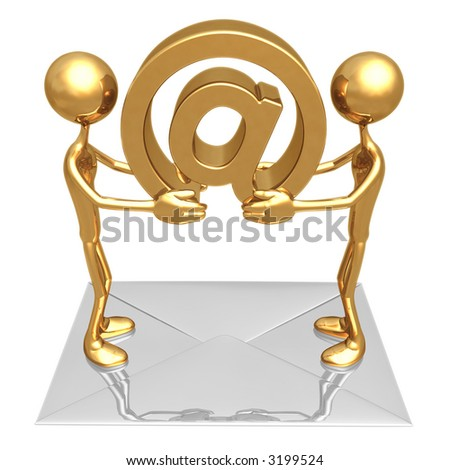 Exchanging E-Mail Communications - stock photo