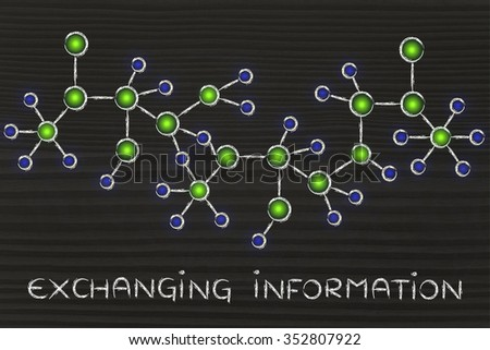 exchanging information: technology and internet inspired abstract glowing network illustration