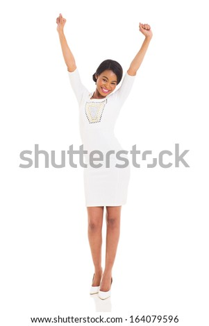 excited african american woman isolated on white - stock photo