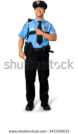Excited Asian man with short black hair in uniform holding prop - Isolated