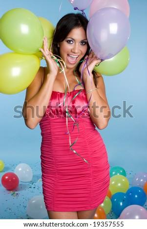 Excited Balloon Girl - stock photo