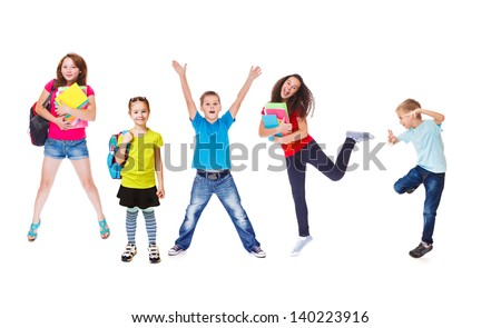 Excited basic and secondary school students - stock photo