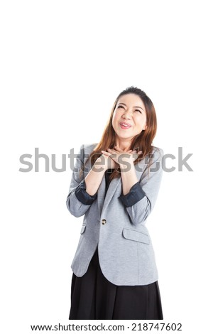 Excited beauty woman Very excited mixed caucasian / asian xwoman holding her head in amazement. Isolated on white. - stock photo