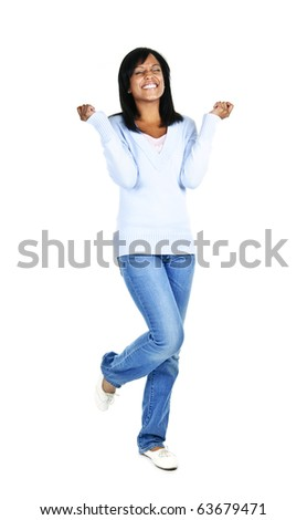 Excited black woman with eyes closed isolated on white background - stock photo